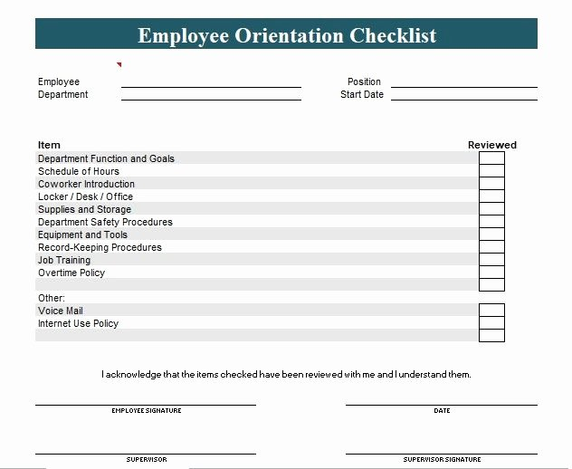 New Employee orientation Template Awesome New Employee orientation Checklist Template Word and Excel