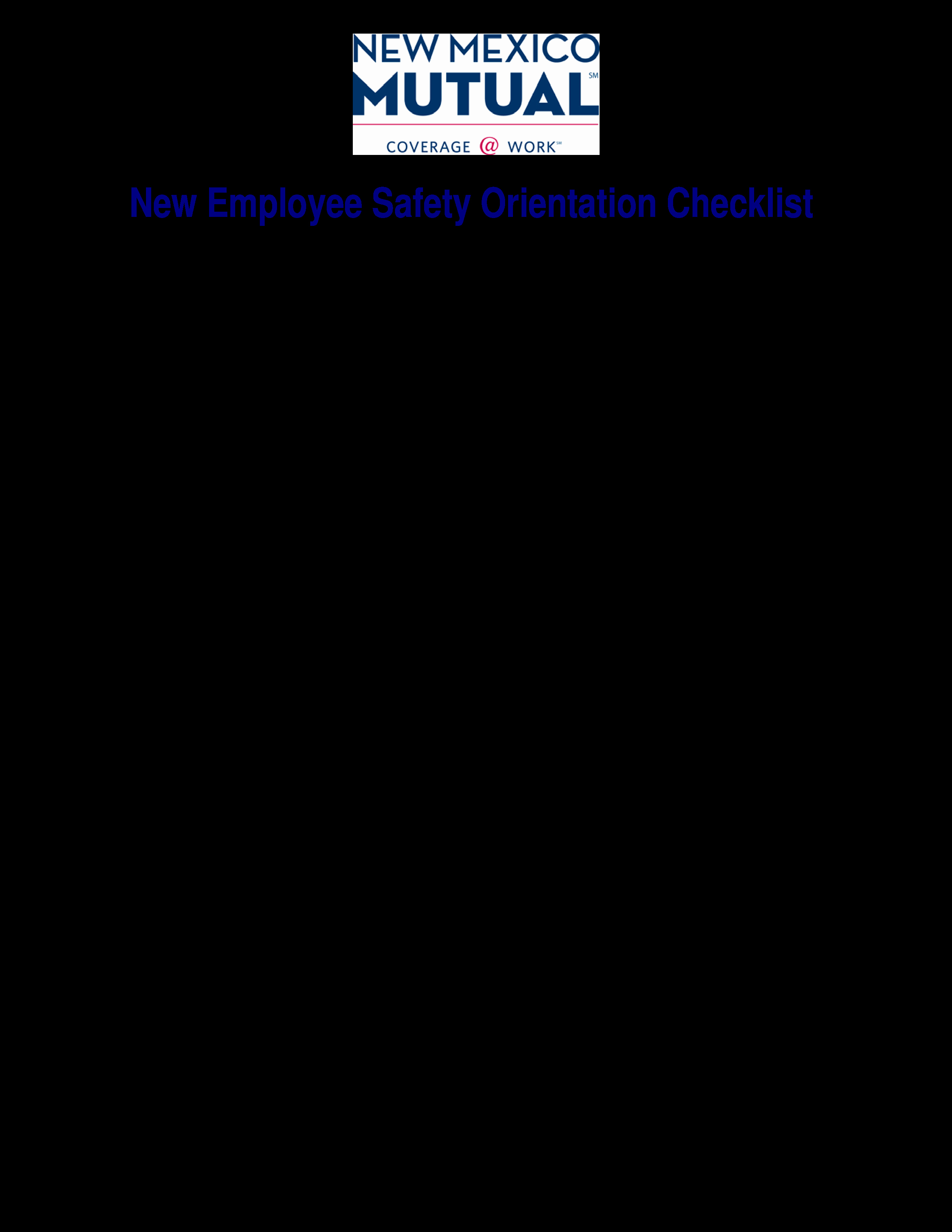 New Employee orientation Template Beautiful Free New Employee Safety orientation Checklist