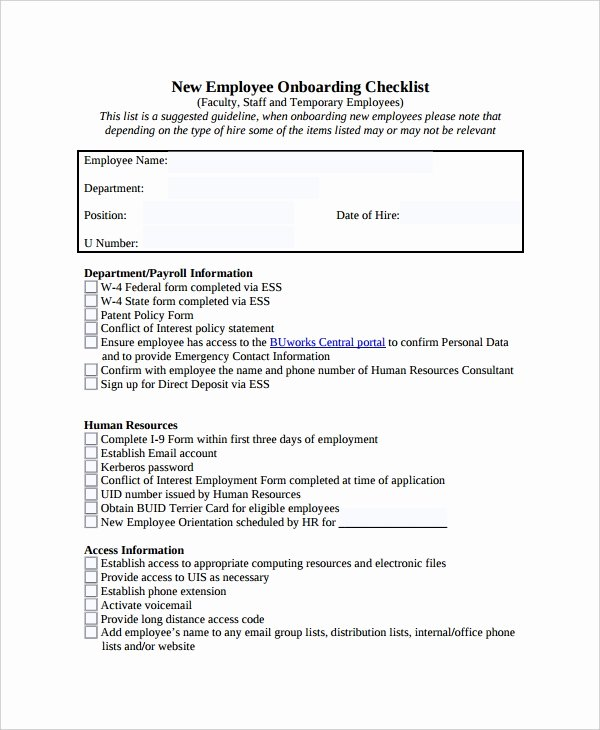 New Employee orientation Template Fresh 35 Checklist Templates Free Sample Example format