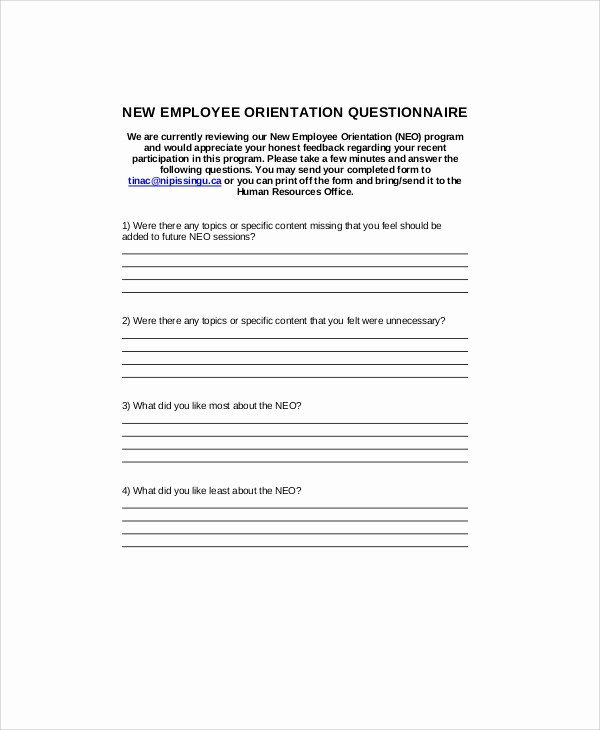 New Employee orientation Template Fresh 7 Sample orientation Feedback forms