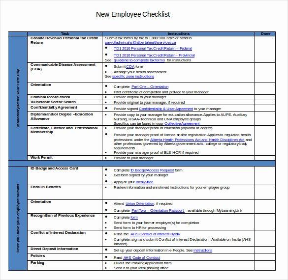 New Employee orientation Template Fresh New Hire Checklist Template