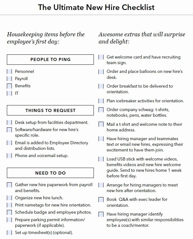 New Employee orientation Template Fresh New Hire Onboarding Checklist Boarding