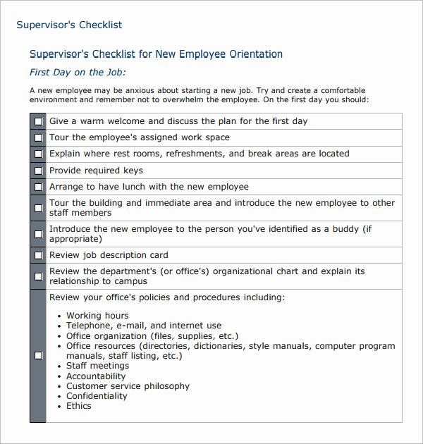 New Employee orientation Template Luxury 26 Hr Checklist Templates Free Sample Example format