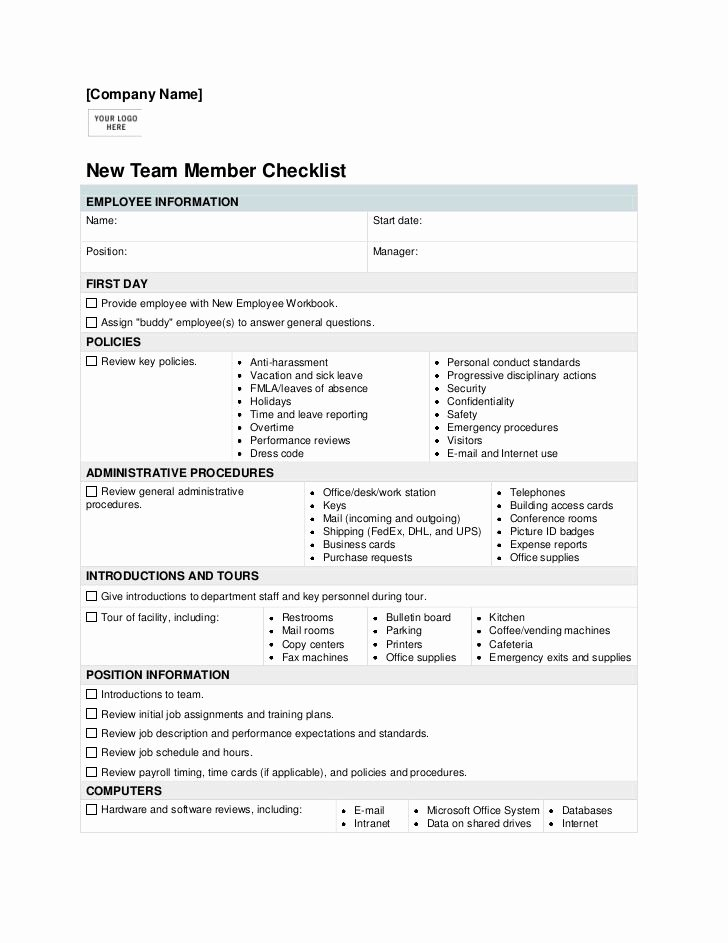 New Employee orientation Template Unique New Employee orientation Checklist Template