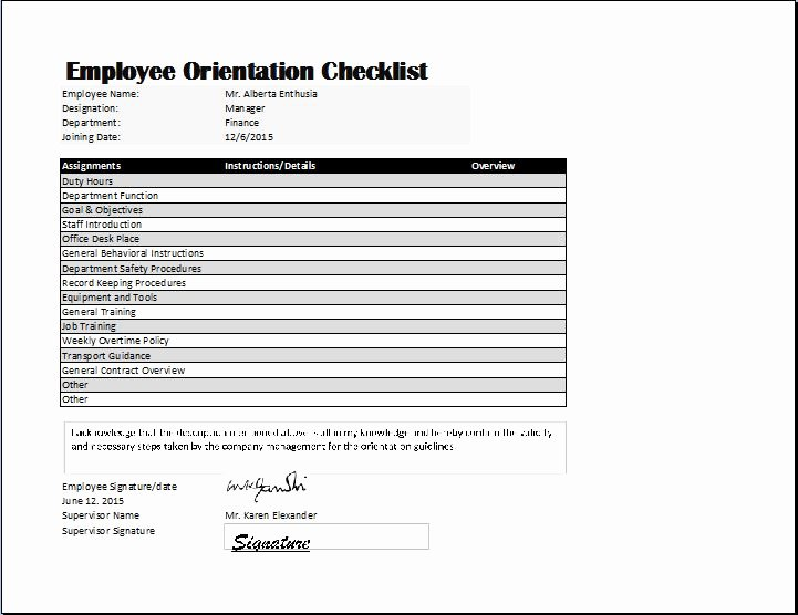 New Hire Checklist Template Awesome Employee orientation Checklist Template