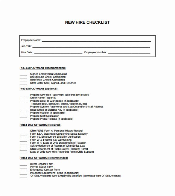 New Hire Checklist Template Awesome Sample New Hire Checklist Template 11 Documents In Pdf
