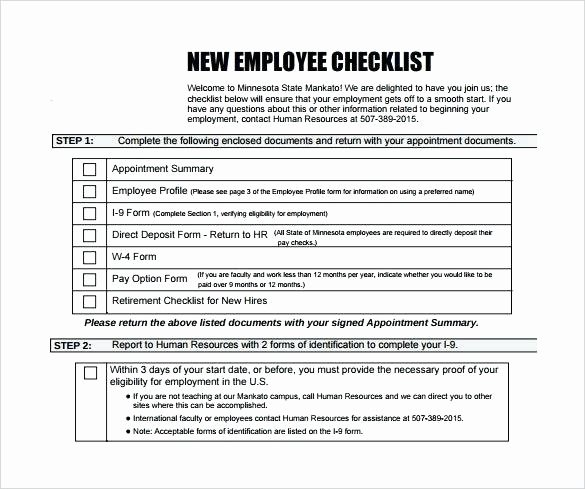 New Hire Checklist Template Beautiful New Employee Checklist Template Awesome Best