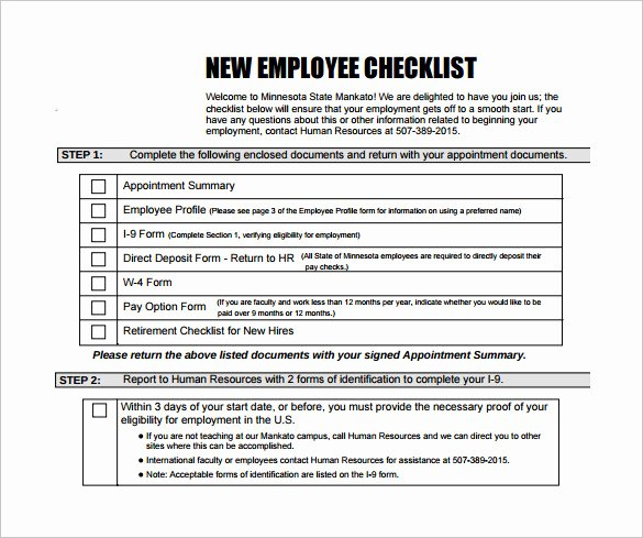 New Hire Checklist Template Elegant 13 New Hire Checklist Samples