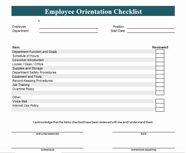 New Hire Checklist Template Luxury New Employee orientation Checklist Template Excel and Word