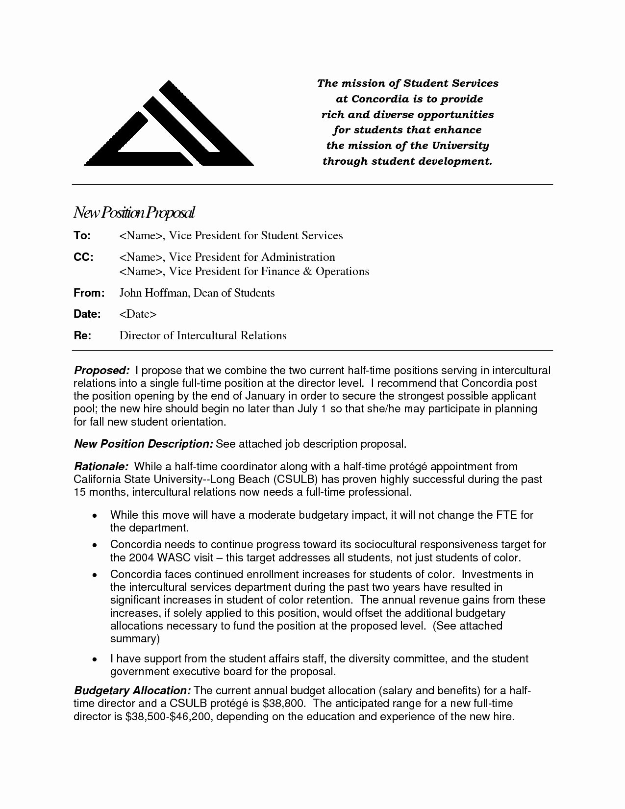 New Position Proposal Template Luxury Hiring Proposal Template Useful Best S New Position