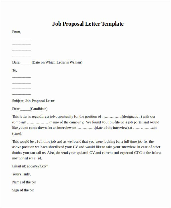 New Position Proposal Template Unique Sample Job Proposal Letter format