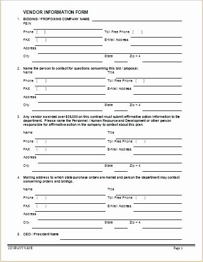 New Vendor form Template Awesome Vendor Information form New Supplier Approval Template
