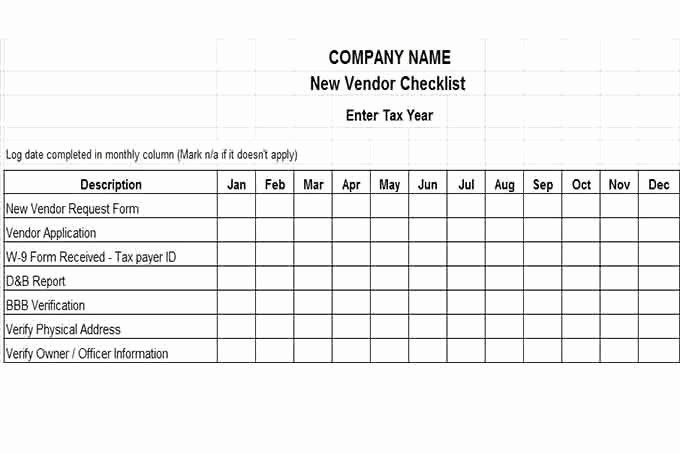 New Vendor form Template Elegant Internal Control Procedures for Small Business Checklist