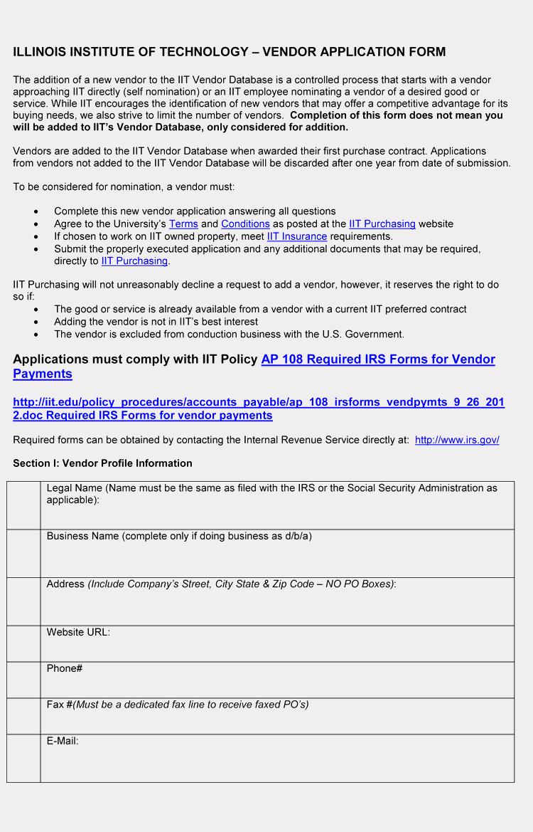 New Vendor form Template Inspirational 9 Printable Blank Vendor Registration form Templates for
