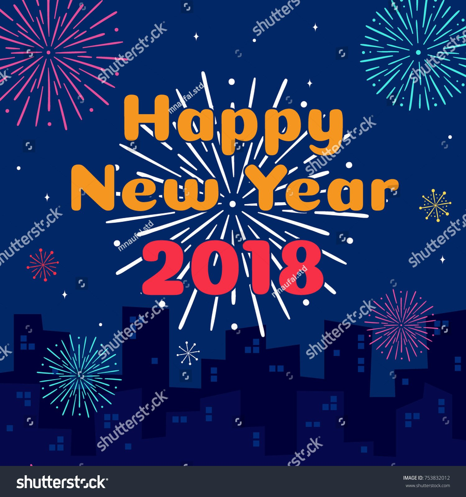 New Year Card Template New Happy New Year 2018 Card Template Stock Vector
