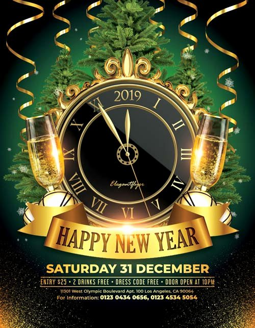 New Year Flyer Template Beautiful Happy New Year 2018 Free Psd Flyer Template for New Year