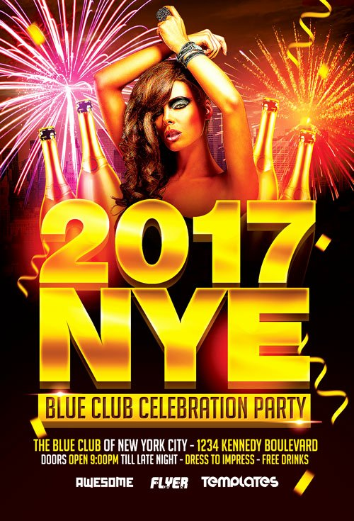 New Year Flyer Template Beautiful New Years Eve Party Celebration Flyer Template