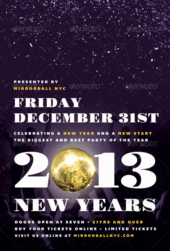New Year Flyer Template Fresh Mirrorball New Years Eve Flyer Template