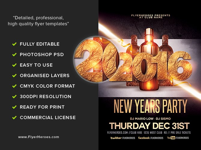 New Year Flyers Template Awesome New Year Party Flyer Template Flyerheroes