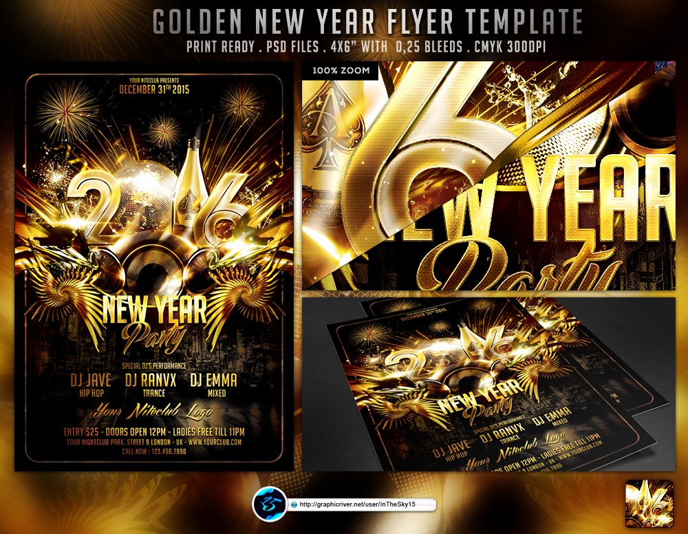New Year Flyers Template Elegant Golden New Year Flyer Template by Ranvx54 On Deviantart