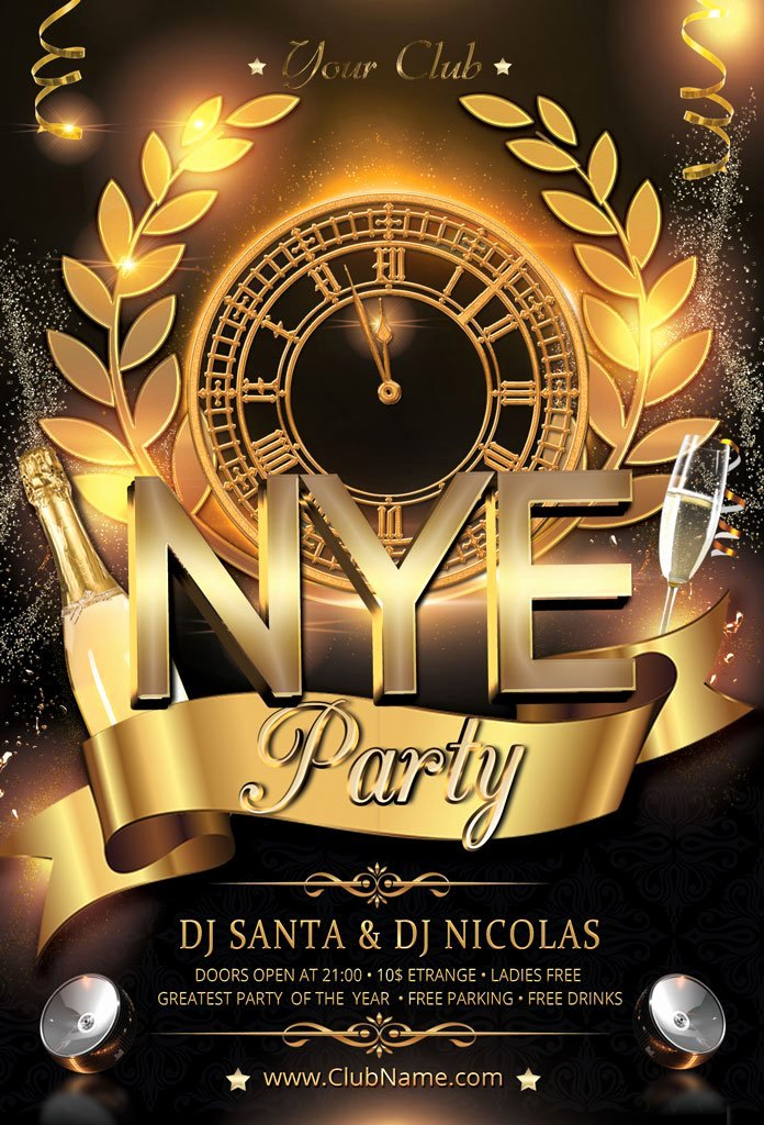 New Year Flyers Template Elegant New Year Party Flyer Flyer Templates Creative Market