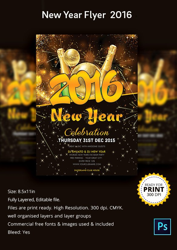 New Year Flyers Template Fresh 25 New Year Flyer Templates 2016 – Free Psd Eps