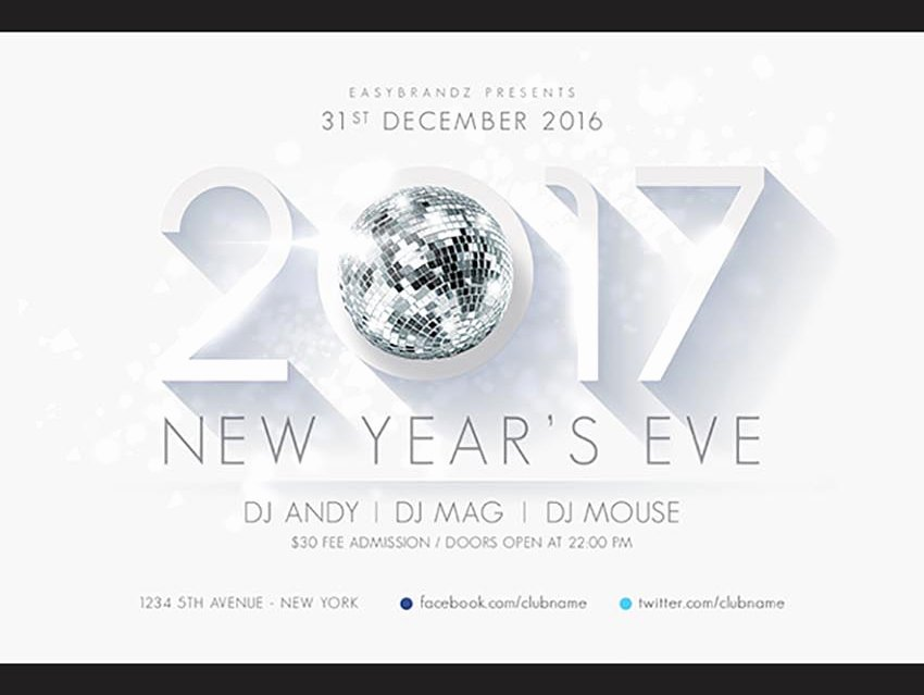 New Year Flyers Template Luxury 50 Amazing Christmas and New Year S Eve Flyers for the