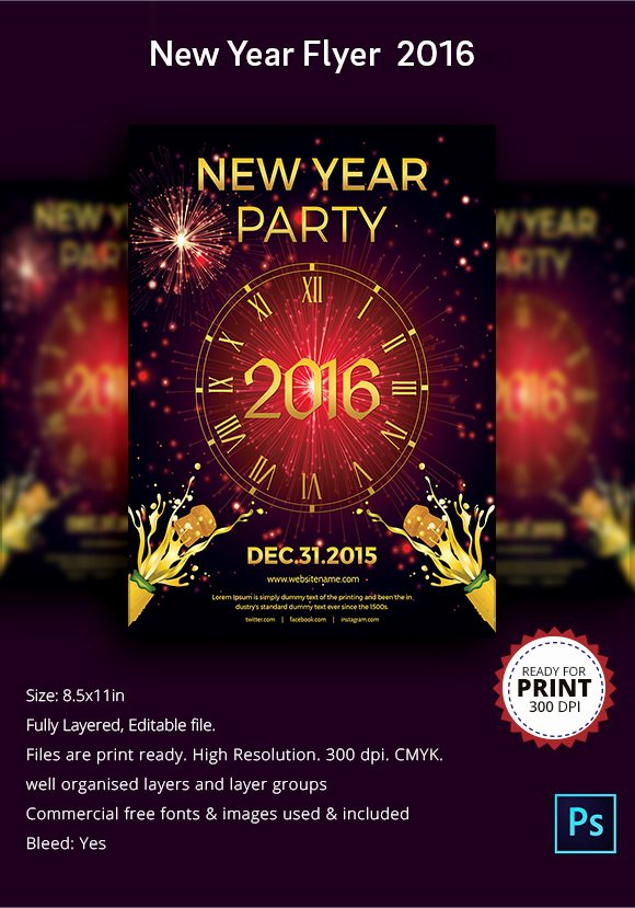 New Year Flyers Template New 35 Amazing New Year Party Flyer Templates to Download