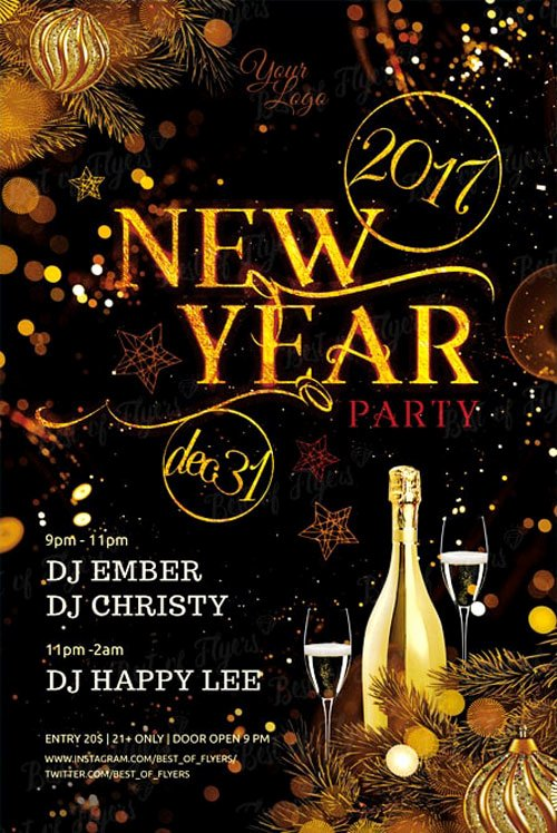 New Year Flyers Template New New Year Party Free Flyer Template Download Free New