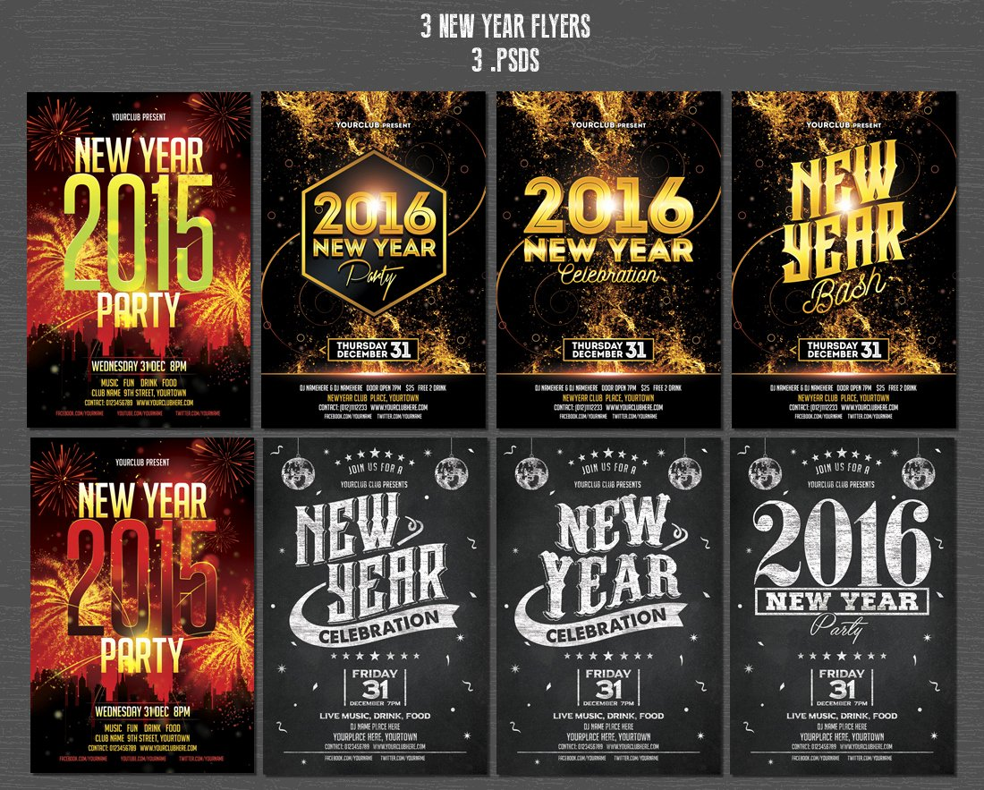 New Year Flyers Template Unique Christmas & New Year Flyers Bundle Flyer Templates On