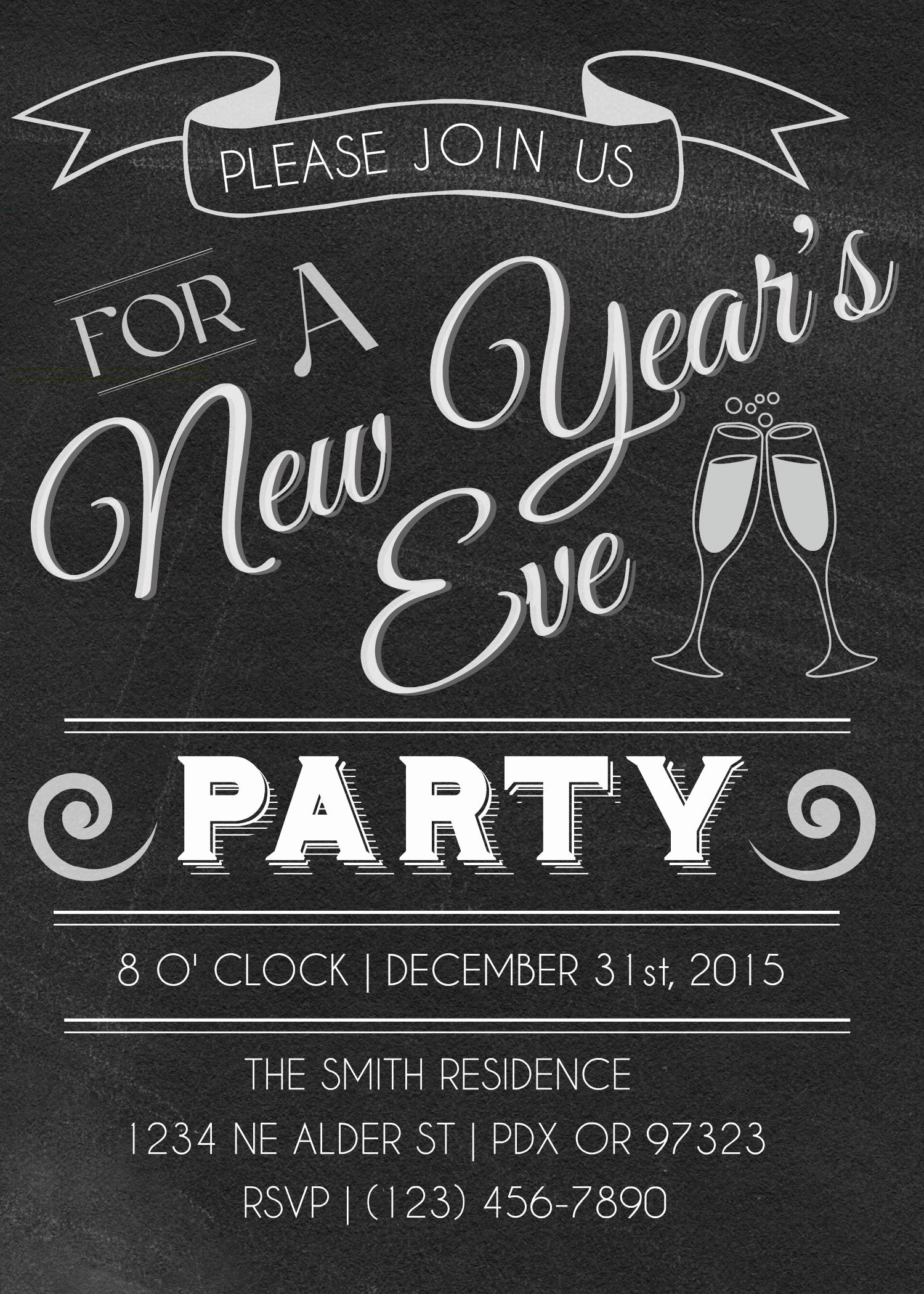New Year Invitation Template Beautiful New Years Eve Party Invitations