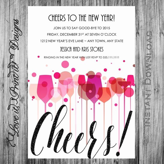 New Year Invitation Template Elegant New Year S Eve Party Invitation Diy Template Cheers New