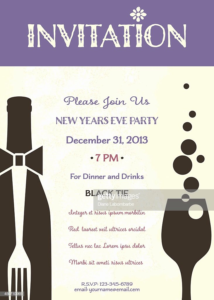 New Year Invitation Template Elegant New Years Eve Party Invitation Template Vector Art