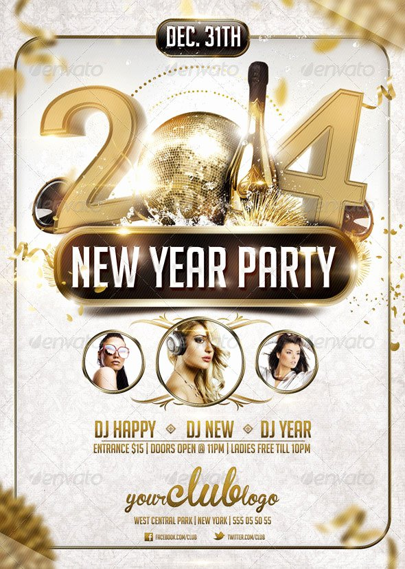 New Years Eve Template Awesome 25 Christmas & New Year Party Psd Flyer Templates