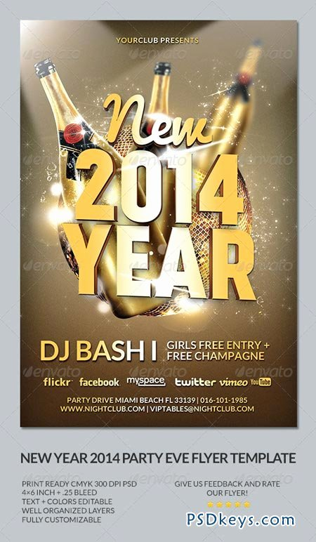 New Years Eve Template Awesome New Year S Eve 2014 Party Flyer Template Free