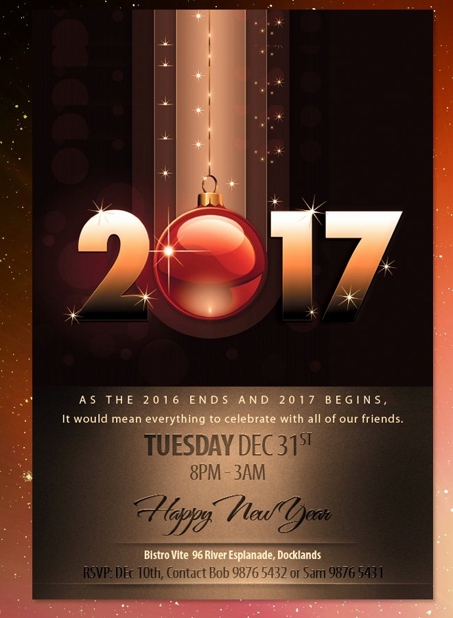 New Years Eve Template Inspirational 2017 New Years Eve Dinner Invitation Brown theme Flyer