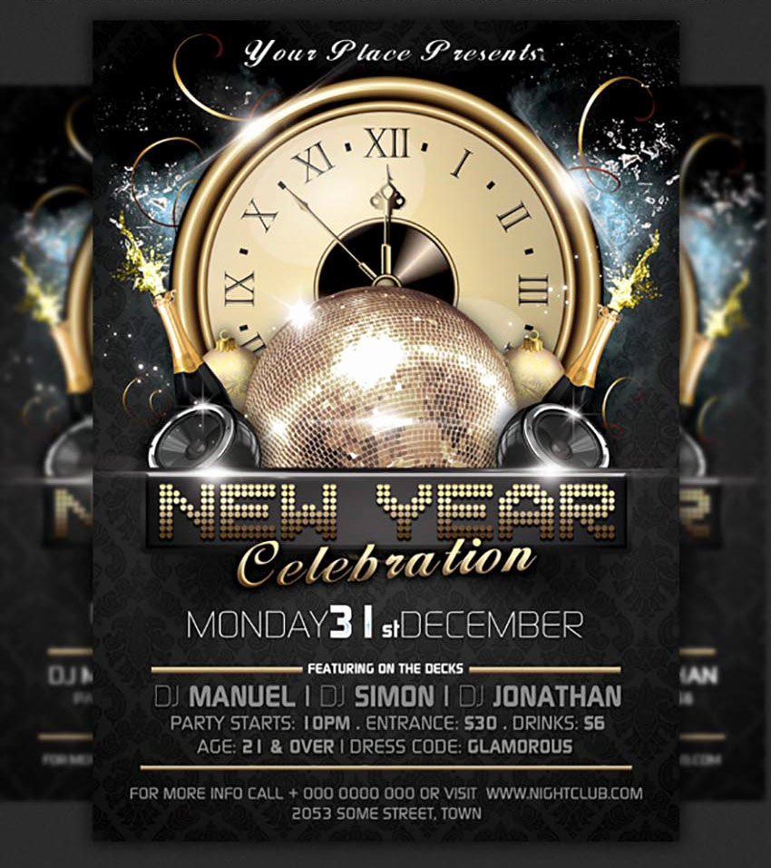 New Years Eve Template Inspirational 50 Amazing Christmas and New Year S Eve Flyers for the