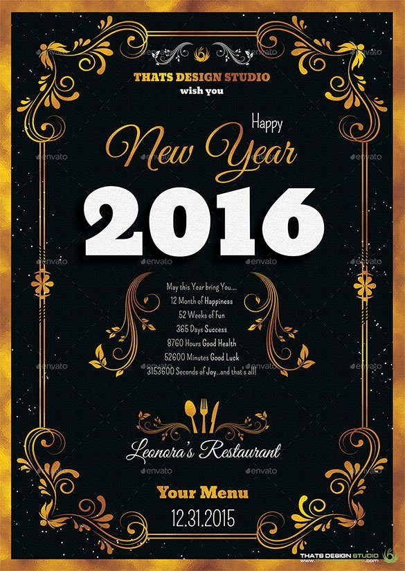 New Years Eve Template Lovely 9 New Year Menu Templates Psd Eps Illustrator Pdf