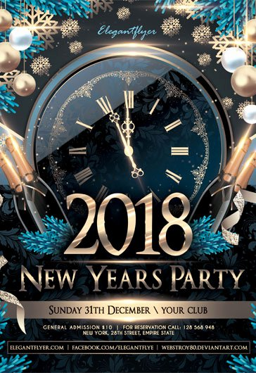 free new year 2018 flyer psd template cover