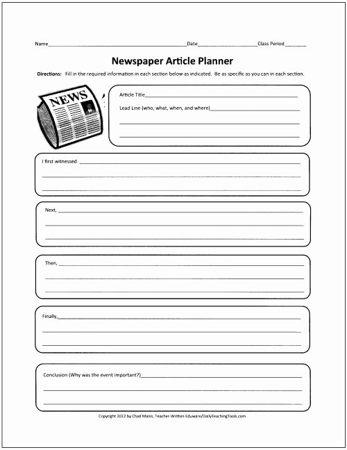 Newspaper Template for Kids Fresh Free Graphic organizers for Teaching Writing