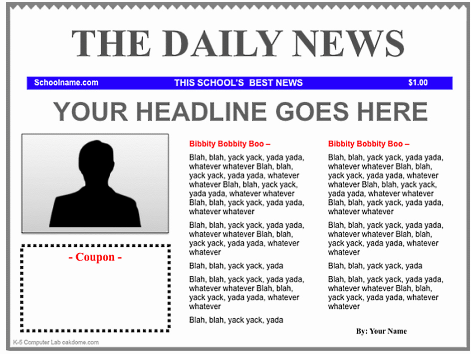Newspaper Template for Kids Lovely Free Newspaper Template