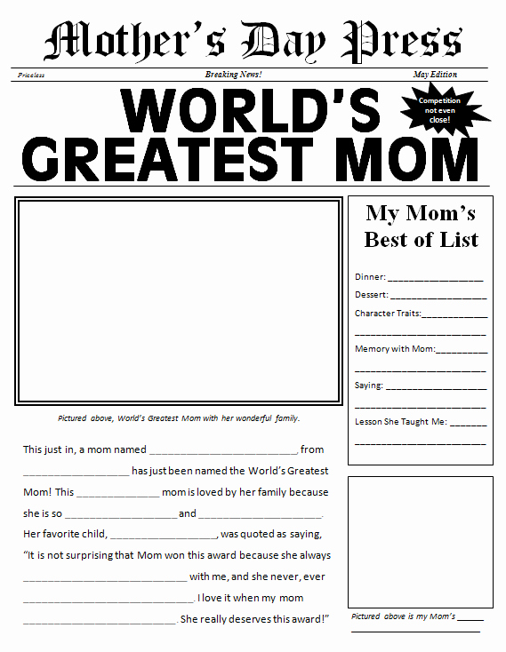 Newspaper Template for Kids Lovely Free Printable Mother S Day Newspaper Template