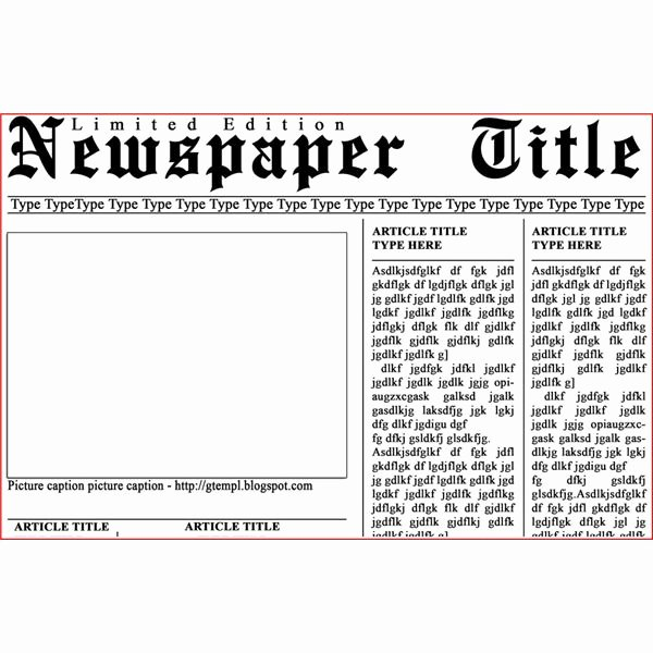 Newspaper Template for Kids Lovely Newspaper Template for Kids