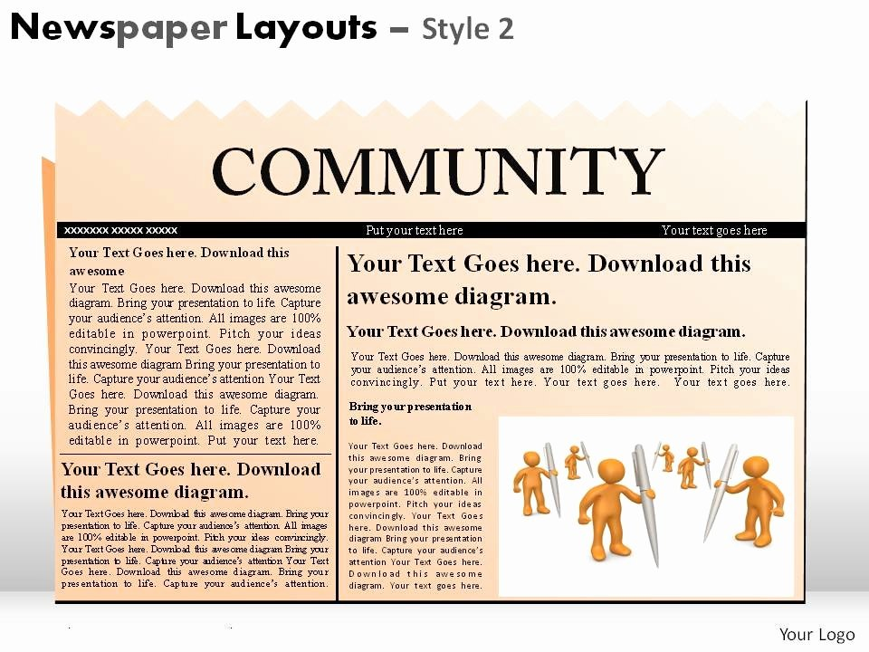 Newspaper Template for Ppt Awesome Newspaper Layouts Style 2 Powerpoint Presentation Slides
