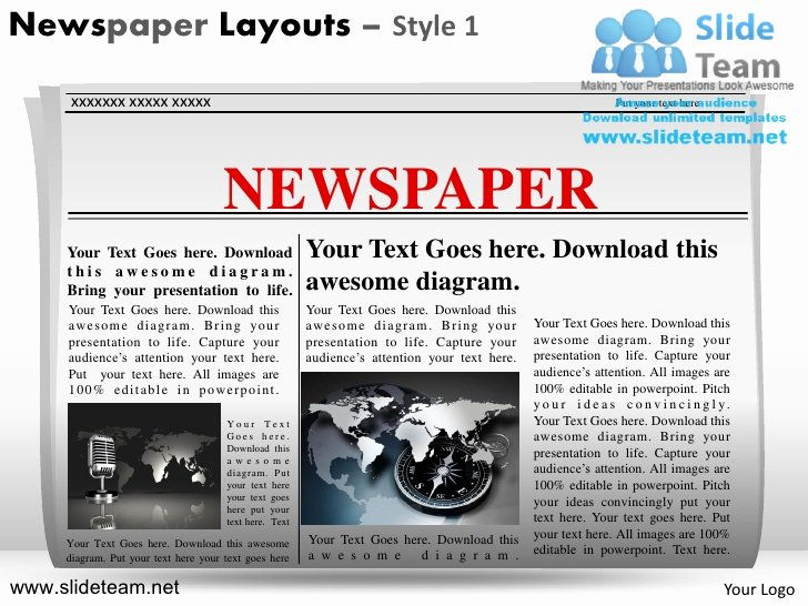 Newspaper Template for Ppt Elegant News On Newspaper Layouts Design 1 Powerpoint Ppt Slides