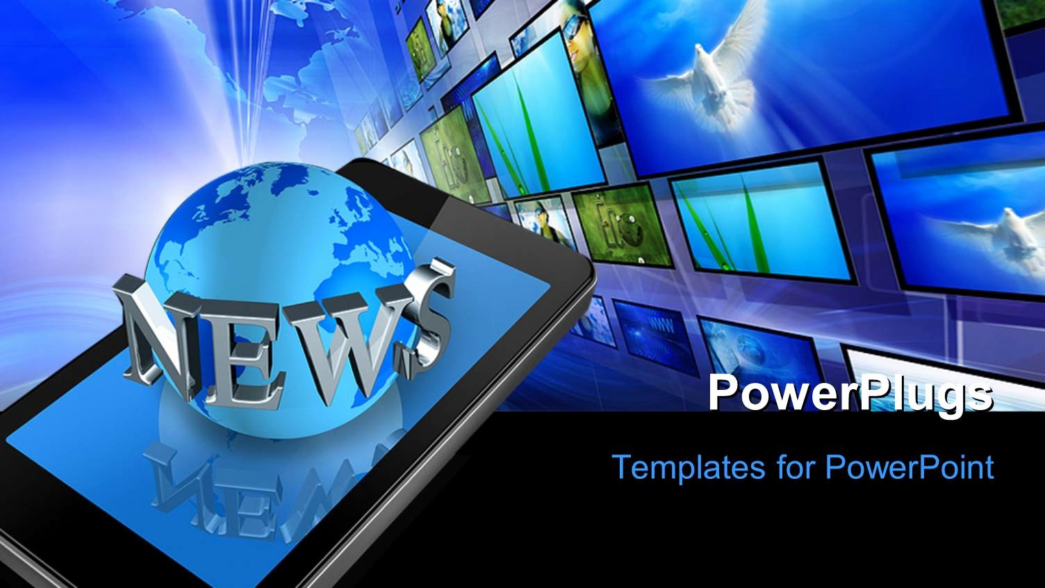 Newspaper Template for Ppt Lovely Powerpoint Template Three Dimensional Mobile Phone and