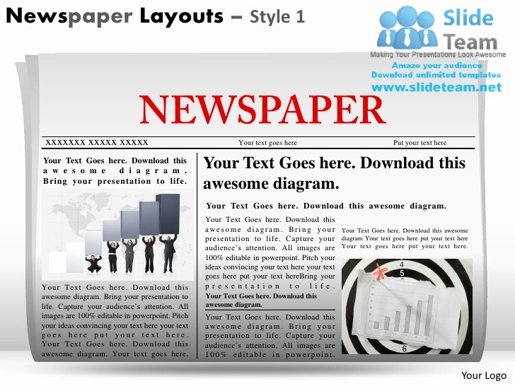 Newspaper Template for Ppt Luxury Newspaper Layouts Style 1 Powerpoint Presentation Slides