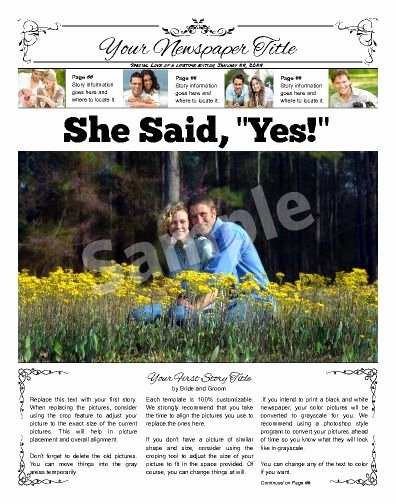 "Newspaper Wedding Announcement Template Fresh Front Page Wedding Announcement Try This 11""x14"