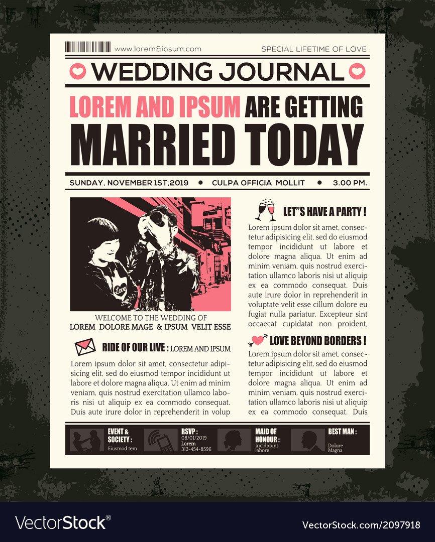 Newspaper Wedding Announcement Template Fresh Newspaper Style Wedding Invitation Design Template