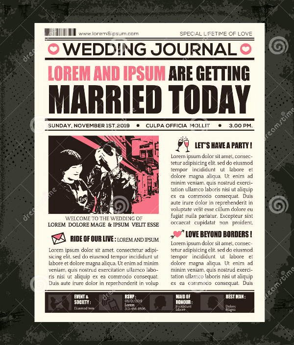 Newspaper Wedding Announcement Template Fresh Wedding Newspaper Templates 7 Word Pdf Psd Indesign